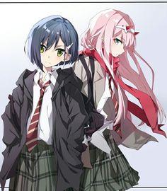 Zero Two and Ichigo - Darling in the FranXX so cute Fanart Manga, Manga Anime, Guerra Anime, Anime Tumblr, Mysterious Girl, Anime Best Friends, Zero Two, Ecchi, Darling In The Franxx