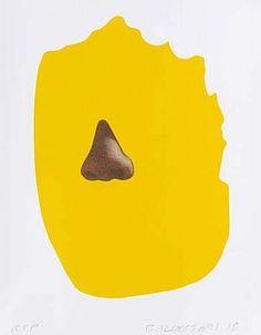 "New Prints ""Nose/Silhouette"" by John Baldessari Shape Poems, John Baldessari, Joan Miro, Mellow Yellow, Bat Signal, Close Image, Superhero Logos, Silhouette, History"