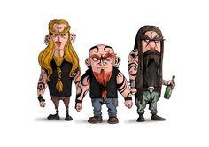 Tattooed metalheads drawn by Hypnozo (http://hypnozo.com/)