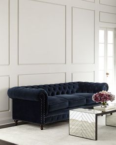 Tia 3-Cushion Chesterfield Sofa at Horchow.