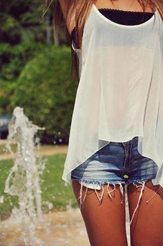 bandeau, white, jean shorts. love.