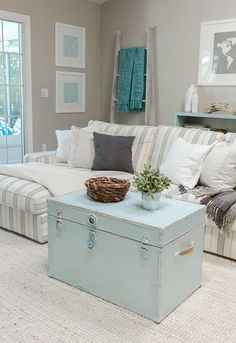 I don't like the colors but LOVE the trunk coffee table... Especially in a den or somewhere you watch movies a lot - keep your blankets and throws in it!
