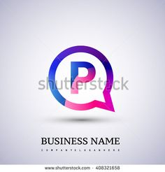 P letter colorful logo on circle. Vector design template elements for your…