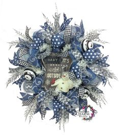 "Southern Charm Wreaths - Winter Door Wreath in denim blue, silver and white with chalkboard snowman sign that reads ""Baby - Artificial Christmas Wreaths, Christmas Mesh Wreaths, Christmas Lanterns, Deco Mesh Wreaths, Door Wreaths, Winter Wreaths, Ribbon Wreaths, Yarn Wreaths, Tulle Wreath"