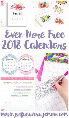 Over 60 free printable 2018 calendars - monthly, horizontal, vertical, year at a glance and more!