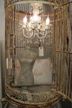 .OMG I LOVE~~~~~~~~~~~~~chandelier inside rustic bird cage