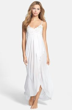 Jonquil  Isabelle  Chiffon Nightgown available at  Nordstrom White Cotton 4ad7140b8