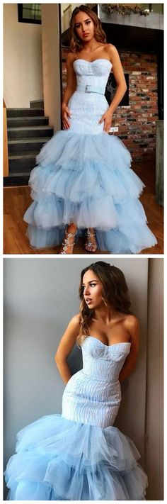 Light Blue Mermaid Strapless Tulle Prom Dresses Bowknot Layers Evening Dresses,FLY219 by Sfaivodresses, $159.10 USD Classy Prom Dresses, A Line Prom Dresses, Tulle Prom Dress, Prom Party Dresses, Sexy Dresses, Strapless Dress Formal, Evening Dresses, Fashion Dresses, Formal Dresses