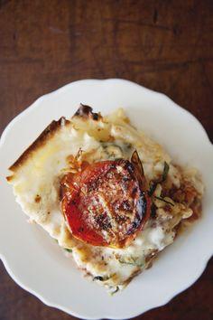 Classic lasagna with ragu bolognese, bechamel, basil, burrata, and roasted tomatoes. Need I say more? #lasagna #comfortfood
