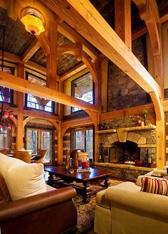 Rustic mountain view house w/ tower room #3 - roomy vaulted living room with great wooden beamed ceilings, stone fireplace and windows with views galore