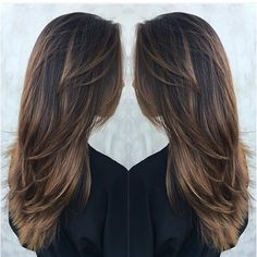 Long Deep Brown Hair with Tawny-Brown Balayage and Lots of Layers - Hair Cut Pretty Hairstyles, Straight Hairstyles, Layered Hairstyles, Hairstyles 2018, Straight Hair With Layers, Long Hair Styles Straight, Long Hairstyles With Layers, Long Layered Haircuts Straight, Long Hair Haircuts