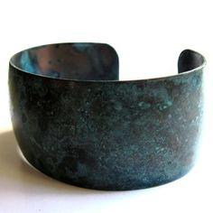 Brass Cuff Bracelet Black Blue Patina