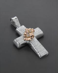 Σταυρός βαπτιστικός Λευκόχρυσος & ροζ Χρυσός K14 με Ζιργκόν