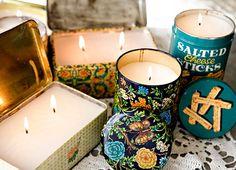 diy vintage tin candles
