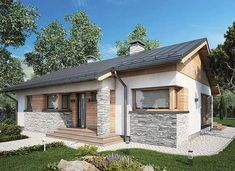 Roberto - zdjęcie 2 Simple House Plans, My House Plans, House Roof, Facade House, Granny Pod Cost, My Home Design, House Design, Gable Roof Design, Bungalow Extensions
