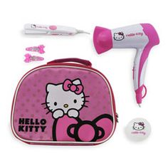 Kawaii! #HelloKitty Travel Size Hair Styling Gift Set with hair dryer, mini hair straightener, compact mirror and hair clips in a shiny pink beauty case. Great gift! $39.99
