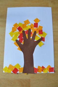 Elenarte: Árbol de otoño hecho por niños                                                                                                                                                                                 Más Autumn Crafts, Autumn Art, Autumn Theme, Holiday Crafts, Baby Crafts, Crafts To Do, Crafts For Kids, Arts And Crafts, Fall Art Projects
