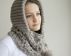 Hand Knitted Milky Brown Wool Hooded Scarf / Cabled от denizgunes