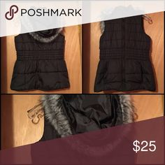 NY & Co. sleeveless puffer jacket (vest). Black New York and Company Sleeveless puffer vest jacket. Detachable hoodie. Have it in white also but the rim of pockets are a little bit discolored. New York & Company Jackets & Coats Puffers