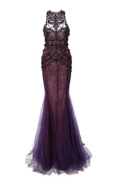 Crystal Embroidered Chantilly Lace Mermaid Gown by MARCHESA for Preorder on Moda Operandi