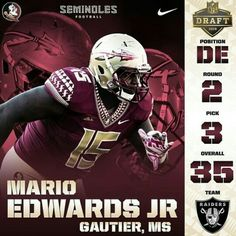 Congratulations Mario Edwards Jr, God Bless you and good luck