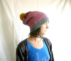 chevron knit slouchy hat by etsy seller cammobear ( but with neon green, blue or orange color)
