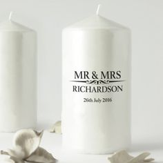 Heritage Wedding Mr and Mrs Personalised Candle