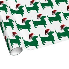 Christmas Green Dachshund Gift Wrapping Paper