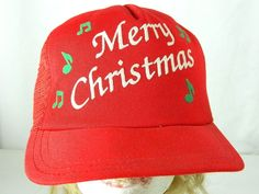 4feecc1f Vintage Merry Christmas Snapback Red Mesh Trucker Hat Plays Music Made in  USA #Cap #