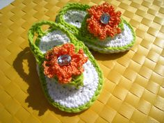 Crochet sandals  baby flip flop sandal beach by EasyPeasyGrandma, $14.95
