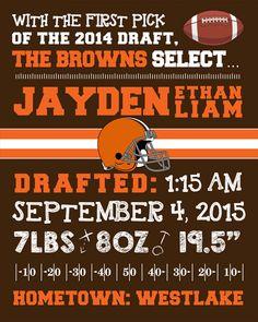 NFL Cleveland Browns Birth Announcement by ThemedBirthdayIdeas