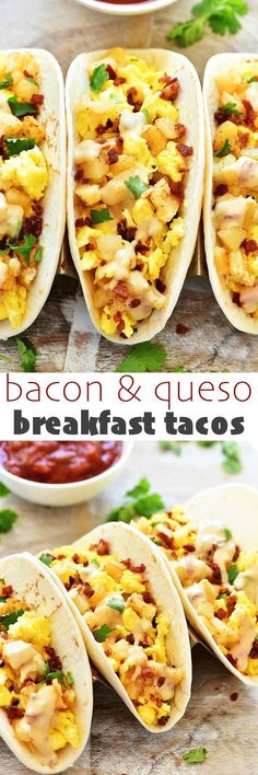 My friends, boy do I have a Taco Tuesday recipe for you! Let me introduce to you my BACON & QUESO BREAKFAST TACOS! Aka. my latest creation that was lip-smackin' amazing!! I love me a good taco. And I'll eat them anytime of the day… for lunch, dinner and e