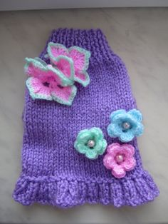 Dog Sweater Lavender with Butterfly By by NinasCoutureCloset