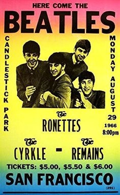 """""""The Beatles - Candlestick Park, San Francisco."""" Fantastic A4 Glossy Art Print Taken from A Vintage Concert Poster by Design Artist http://www.amazon.co.uk/dp/B0155ZX704/ref=cm_sw_r_pi_dp_fXs8vb1X0FTHY"""