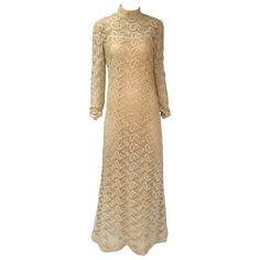 Preowned 1960s Fred Perlberg Original Ivory Crochet Paisley Dress (23.650 RUB) ❤ liked on Polyvore featuring dresses, white, high neck dress, white boho dress, bohemian dresses, paisley dress and couture dresses