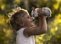 little boy with a rabbit