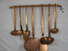 vintage copper utensil set
