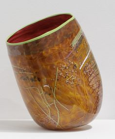 Dale Chihuly - Ruby Soft Cylinder/Chartreuse | From a unique collection of abstract sculptures at http://www.1stdibs.com/art/sculptures/abstract-sculptures/