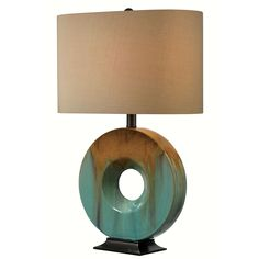 Design Craft 'Fenerty' Oval Base Ceramic Table Lamp (Fenerty Table Lamp), Gold