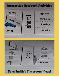 Classroom Freebies: Fern Smith's FREE Interactive Notebook Activity for Long i and Short i Vowels
