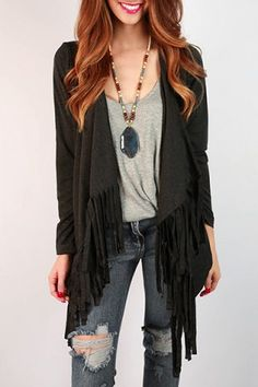 Stylish Collarless Long Sleeve Asymmetrical Women's Fringe Cardigan