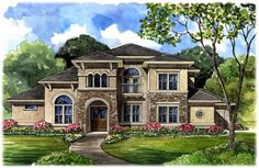 Italian Mediterranean Tuscan House Plan 61749