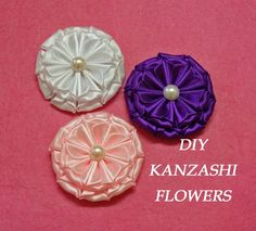 DIY kanzashi flowers,kanzashi tutorial,how to make,easy