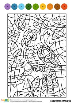 Coloring and illustration of a Magic Coloring, a multi-colored parakeet. - Coloring and illustration of a Magic Coloring, a multi-colored parakeet. Crayola Coloring Pages, Kindergarten Coloring Pages, Summer Coloring Pages, Colouring Pages, Printable Coloring Pages, Coloring Books, Card Games For Kids, Craft Activities For Kids, Color By Numbers