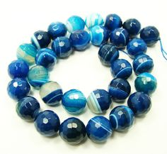 Sea blue striped agate faceted round beads (8mm, 15.5 inch strand) $5