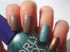 Lumene Kevättalvi / Late Winter, Orly Aqua Pixel & Too Fancy Lacquer Chocolate Gold