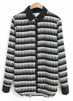 Black White Lapel Long Sleeve Triangle Print Blouse EUR€23.25