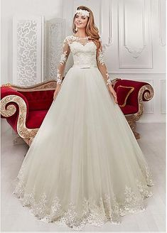 Attractive Tulle & Satin Bateau Neckline A-Line Wedding Dresses With Lace…