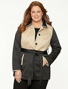 The classic trench gets a bold update for the season with an eye-catching colorblock motif. Designed to flatter, the structured silhouette makes the most of your shape with contoured seaming and a self-tie belt to define hourglass curves beautifully. Fully lined. Finished with a rounded collar, hidden button-front placket, snapped cuffs and two pockets, you'll reach for this statement piece again and again. lanebryant.com