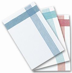 Glasscloths / tea towels, white with a coloured border. High quality glass cloths, ideal for any catering establishment, school or office. Wholesale catering supplies. Sold in a pack of 10 towels.
